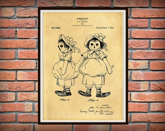1915 Raggedy Ann Doll Patent Print Designed by John Gruelle - Childs Room Decor - Nursery Decor - Doll Collector Gift Idea