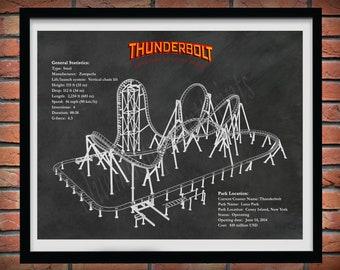 Thunderbolt Coney Island Roller Coaster Art Print, Thunderbolt Roller Coaster Drawing Luna Park, Thunderbolt Roller Coaster Blueprint,