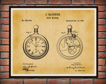 1886 Pocket Watch Patent Print #2 - Stop Watch Patent Art Print - Timepiece Patent - Poster - Wall Art - Watchmaker Gift