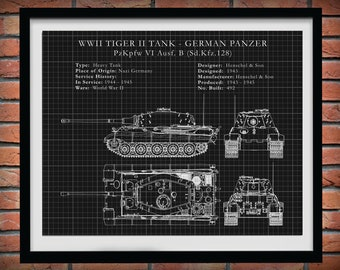 1944 German Panzer Tiger II Tank - German Nazi Army Tank - WWII Military Drawing - Tank Blueprint - Soldier Wall Art - WWII Collector Print