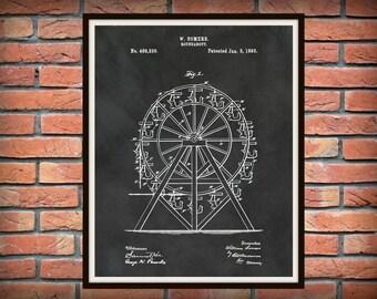 Patent 1893 Ferris Wheel Patent Art Print - Poster Print - Roundabout Patent - Carnival Ride - Amusement Park Wall Art - Circus Art