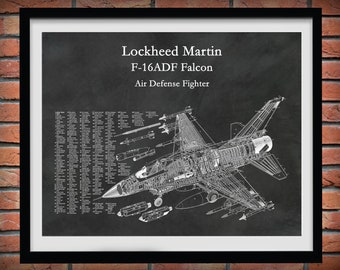 Lockheed F-16 Falcon Blueprint, Lockheed F-16ADF Fighter Plane Poster, F-16 Fighting Falcon Poster, Air Force Pilot Gift, Air Force Decor