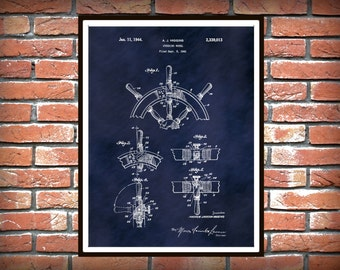1941 Ship Steering Wheel Patent Print - Ship Helm Poster Print - Nautical Decor - Marina Decor - Navy Art - Sailor Gift Idea