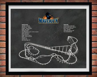 Maverick Roller Coaster Drawing, Cedar Point Roller Coaster, Maverick Roller Coaster Blueprint, Roller Coaster Decor, Roller Coaster Art