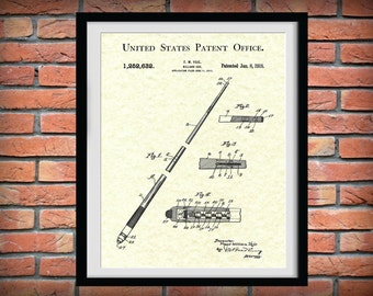 Patent 1918 Billiard Cue Patent Art Print - Poster Print - Drawing Illustration - Wall Art - Pool Hall Art - Billiard Hall Art - Pool Stick