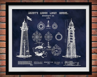 1850 Minot's Ledge Lighthouse Drawing - Minots Ledge Light House Poster - Nautical Decor - Lighthouse Collector Gift Idea