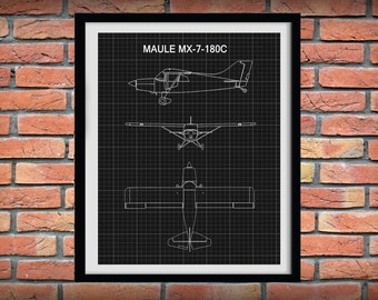 Maule MX-7-180C Drawing, Maule MX-7 Airplane Poster, Maule MX-7-180C Blueprint, Aviation Decor, Pilot Gift Idea, Aviator School Decor