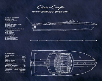 1969 Chris Craft Boat Drawing, Chris Craft Commander Super Sport Poster, Nautical Decor, Chris Craft Blueprint, Chris Craft Commander Club