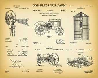 God Bless Our Farm Patent Print Vers #1 - John Deere Tractor Patent - Farm Poster - Farming - Farm Equipment Collection - Farmhouse Decor