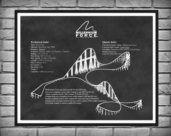 Millennium Force Roller Coaster - Cedar Point Sandusky Ohio -  Roller Coaster Drawing - Thrill Rider Gift Idea Steel Giga Coaster Poster