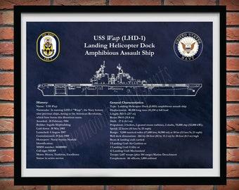 USS Wasp LHD-1 Drawing, Landing Helicopter Dock Blueprint, Amphibious Assault Ship Drawing, US Navy Wall Art Print, Sailor Gift