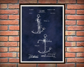 Patent 1902 Anchor Patent Art Print - Poster - Ship Anchor - Boat Anchor - Yacht Anchor - Nautical- Marina Wall Art -  Sailor Art- Naval Art