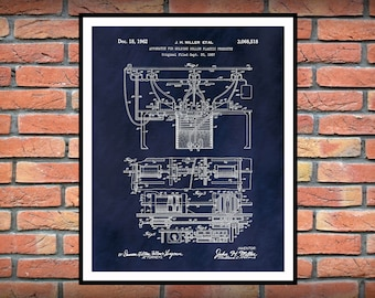 1962 Mold-A-Rama Patent Print, Mechanical Decor, Engineering Gift, Industrial and Mechanical Art, Injection Molding Invention Poster