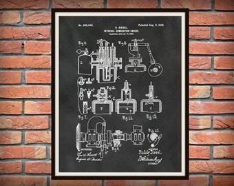 1898 Diesel Engine Patent Print Invented by Rudolf Diesel - Internal Combustion Engine Poster - Auto Mechanic Gift - Auto Repair Shop Decor
