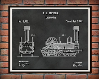 1842 Locomotive Steam Engine Patent Print - Railroad Patent - Train Poster - Train Station Decor - Train Collector Gift Idea