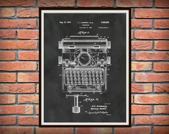 Patent 1941 Typewriter Patent Art Print - Wall Art - Secretary Wall Art - Writer Art - Stenographer Art - Transcription Art