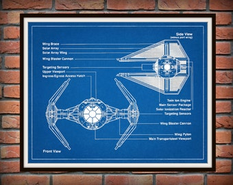 Star Wars Tie Interceptor Drawing - Schematic - Art Print - Movie Poster - Wall Art - George Lucas Film - Return of the Jedi - Tie Fighter