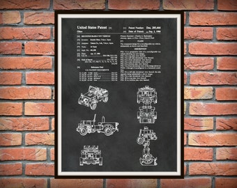 Patent 1986 Jeep Transformer - Wall Art Print -Toy Patent - Reconfigurable Toy Vehicle - Childrens Room Art
