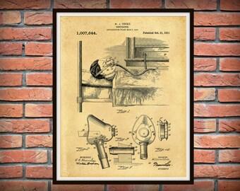 Patent 1911 Respirator - Art Print - Poster - Medical Ventilator System -  Doctors Office - Surgery - Hospital Wall Art