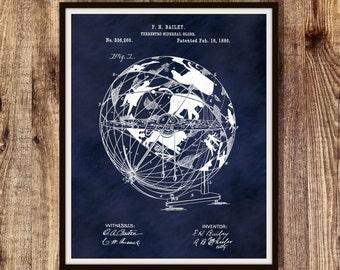 1886 Terrestro-Sidereal Globe Patent Print - Celestial Poster - Astronomy Poster - Celestial Globe Drawin, Constellation Decor - Star Chart
