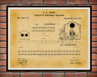 Patent 1874 Electric Railway Signal - Railroad Signal -Train Art - Locomotive Art - Railway Station Art - Railway Signal - Railroad Art