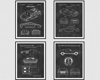 Set of 4 Sports Car Patents - 2004 Lamborghini Patent - 1998 Porsche 911 Patent- 1962 Corvette Stingray Patent - 1967 Ford Mustang Shelby