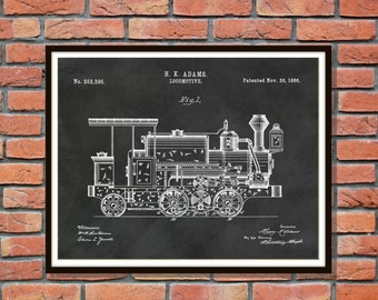 Patent 1886 Locomotive Art Print - Train Patent - Poster - Wall Art - Railroad Art - Railway Station Art - Train Station Wall Art