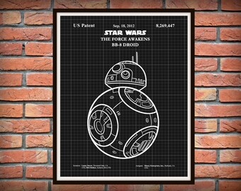 Star Wars BB-8 Patent Print - The Force Awakens Print - Star Wars Movie Poster - Star Wars Collector Gift Idea - Star Wars Patent Print