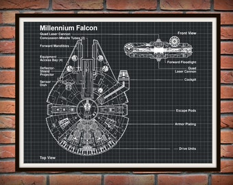Star Wars Millennium Falcon Art Print Wall Poster - Drawing Illustration - Engineering Drawing - Schematic Drawing
