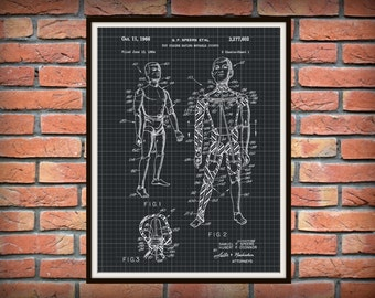 Patent 1961 GI Joe - Art Print - Poster - Wall Art - Game Room Art - Childs Room Decor - GI Joe Doll - Action Figure - Movable Parts Figure