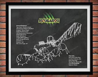 Rougarou Roller Coaster Drawing, Cedar Point Roller Coaster, Rougarou Roller Coaster Blueprint, Rougarou Floorless Coaster Art Print
