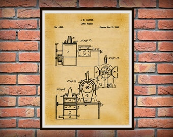 Patent 1846 Coffee Roaster - Wall Art Print - Kitchen Art- Poster - Restaurant Wall Art - Housewares - Coffee Shop Wall Art