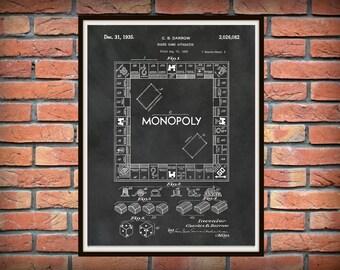 1935 Monopoly Patent Print - Monopoly Board Poster Print - Game Room Decor - Monopoly Game Patent Print