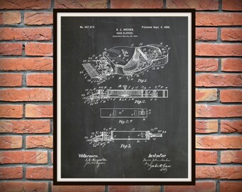 Patent 1900 Hair Clippers - Art Print - Poster - Barber Shop Art - Hair Salon Wall Art - Hairdresser Art - Beauty Parlor Art