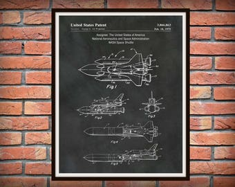 1975 Space Shuttle Patent Print - Art Print Poster - Wall Art - Astronaut Wall Art -  United States NASA Space Program Print