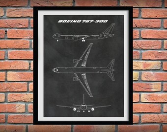 Boeing 767-300 Patent Print, Boeing 767 Airplane Drawing, Aviation Art, Boeing Airplane poster, Boeing 767-300 Blueprint, Pilot gift