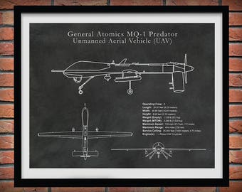 MQ-1 Predator UAV Drone Spy Plane Drawing - Reconnaissance Aircraft Art Print - Poster - CIA Spy Plane Illustration - Hellfire Missiles