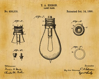 1890 Edison Light Bulb Patent Print - Vers #2 - Wall Art - Thomas Edison Invention - Electric Light Bulb - Electrical Shop Electrician Art