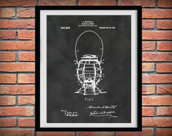 Patent 1908 Railroad Lantern - Art Print  - Locomotive Art - Railway Station Art - Railway Signal - Railroad Wall Art