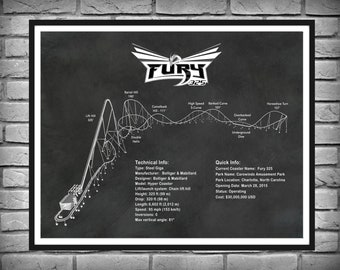 Fury 325 Roller Coaster Drawing, Fury 325 Roller Coaster Poster, Fury 325 Giga Coaster Blueprint, Roller Coaster Enthusiast Gift Idea