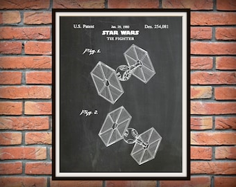Patent 1980 Star Wars Tie Fighter - Art Print - Movie Poster - Wall Art - George Lucas Film - Return of the Jedi - The Force Awakens