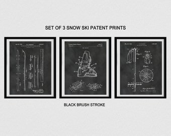 Ski Patent Print Set of 3 - Snow Ski Patent Print, Ski Boot Patent, Ski Pole Patent, Ski Resort Decor, Winter Sport Decor, Skier Gift Idea