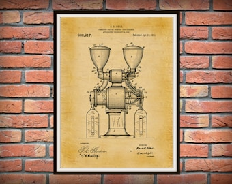 1909 Coffee Grinder Patent Print - Coffee Mill Blueprint - Restaurant Wall Art - Coffee Shop Decor - Household Decor - Barista Gift -