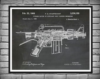 1966 M-16 Rifle Patent Print AR15 Vers #2 - Art Print - Poster -  Fire Arm - Military Weapon - Sniper Rifle - Wall Art - Assault Rifle Print