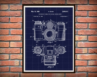 Patent 1962 SLR 35mm Camera for Zeiss Ikon Art Print - Poster Print - Wall Art - Photography - Photographic - Lithography