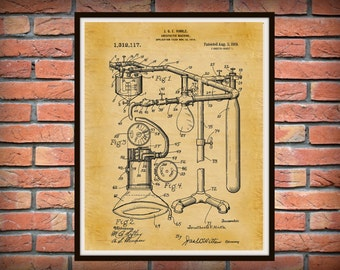 1919 Anesthetic Machine Patent Print, Anesthetic Machine Poster, Anesthesia Machine Patent, Hospital Decor - Anesthesiologist Gift