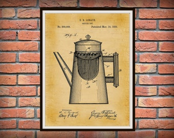 Patent 1889 Coffee Pot Art Print - Kitchen Wall Art- Cooking - Poster Print - Coffee Shop Wall Art - Starbucks Wall Art
