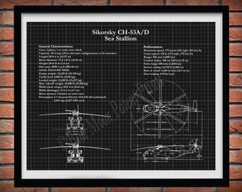 Sikorsky CH-53 Sea Stallion Drawing, CH-53 Sea Stallion Blueprint, CH-53A/D Sea Stallion Schematic, C-53 Sea Stallion Marine Helicopter