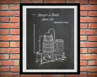 Patent 1808 Alcohol Still - Art Print Poster - Moonshine Still - Whiskey Still - Bar & Pub Art - Bourbon Invention