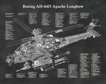 AH-64D Apache Longbow Helicopter Print, Boeing AH-64 Apache Blueprint, Helo Pilot Gift, Helicopter Decor, Boeing AH-64A Cutaway Drawing